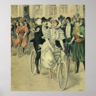 Bicicleta del tándem del paseo del novio de la póster