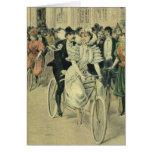 Bicicleta del tándem del paseo del novio de la tarjeta de felicitación