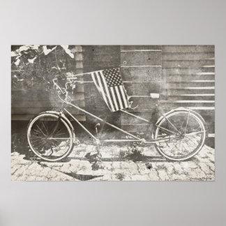 Bicicleta del tándem del vintage póster