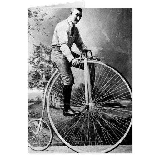 Bicicleta del Victorian de Old Timey Pennyfarthing Tarjeta De Felicitación