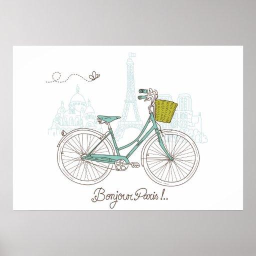 Bicicleta del vintage con la cesta linda en París Póster