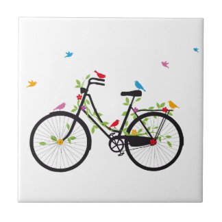 Bicicleta del vintage con las flores y los pájaros azulejo cuadrado pequeño
