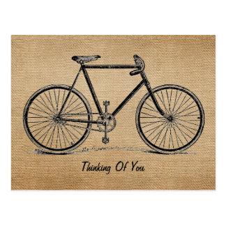 Bicicleta del vintage de la arpillera que piensa e tarjetas postales