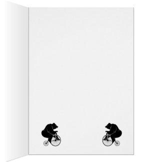 Bicicleta del vintage del montar a caballo del oso tarjeta pequeña