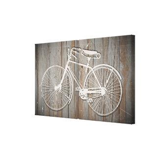 Bicicleta del vintage en arte rústico de la pared