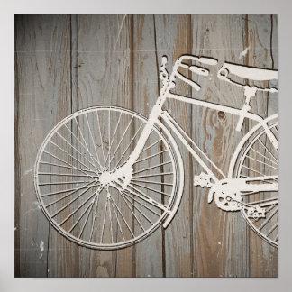 Bicicleta del vintage en arte rústico de la pared póster