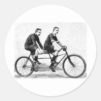 Bicicleta del vintage para dos - deportes de ciclo etiquetas redondas