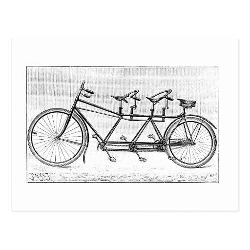 Bicicleta del vintage para tres bicicletas del postal