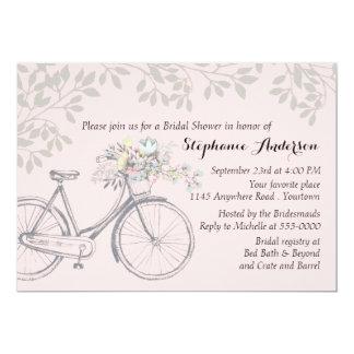 """Bicicleta del vintage y ducha nupcial de las hojas invitación 5"""" x 7"""""""