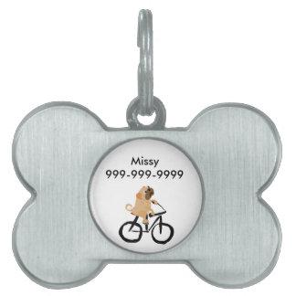 Bicicleta divertida del montar a caballo del perro placas de mascota