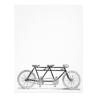 Bicicleta doble del vintage membrete personalizado
