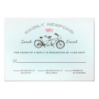 """Bicicleta en tándem azul que casa la tarjeta de invitación 3.5"""" x 5"""""""