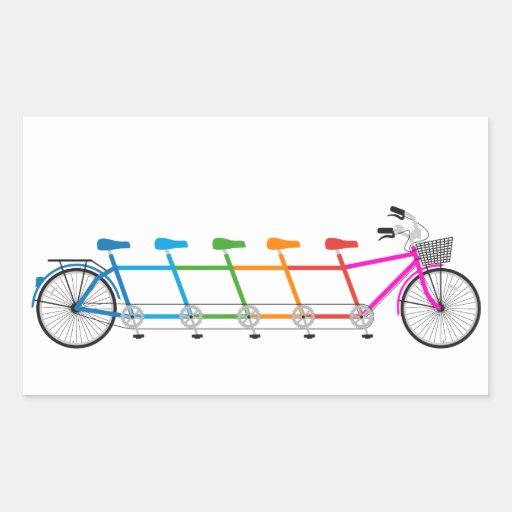 bicicleta en tándem colorida, bici del equipo rectangular altavoces