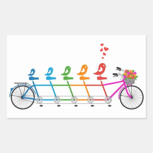 bicicleta en tándem colorida con la familia de rectangular pegatina