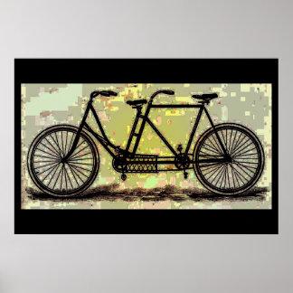 Bicicleta en tándem del cartel de la bici del póster