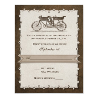 Bicicleta en tándem del siglo XIX del vintage que Invitación 10,8 X 13,9 Cm