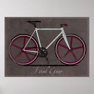 Bicicleta fija del blanco del engranaje poster