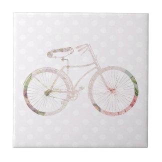 Bicicleta floral femenina azulejo cuadrado pequeño