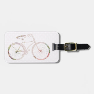 Bicicleta floral femenina etiquetas maletas