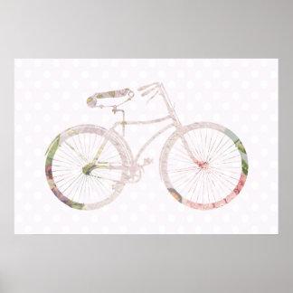 Bicicleta floral femenina póster