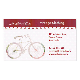 Bicicleta floral femenina tarjetas de visita