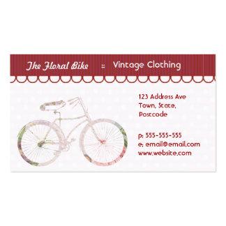 Bicicleta floral femenina tarjetas personales