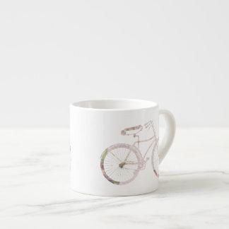 Bicicleta floral femenina tazas espresso
