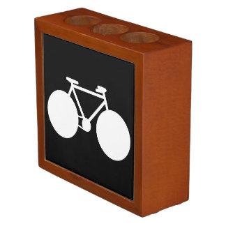 bicicleta gráfica blanca portalápices