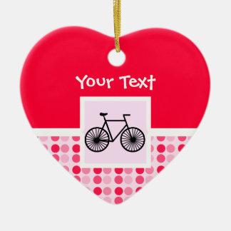 Bicicleta linda adorno de cerámica en forma de corazón