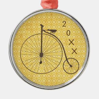 Bicicleta metálica de la antigüedad de la rueda adorno navideño redondo de metal