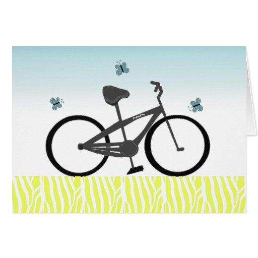 Bicicleta negra del campo a través felicitación