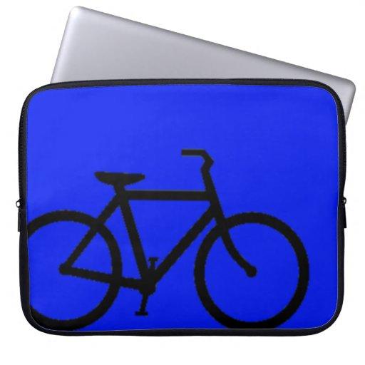 Bicicleta: Negro en azul Funda Computadora