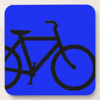 Bicicleta: Negro en azul Posavasos Para Bebidas