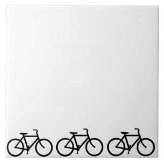 Bicicleta: Negro en blanco Azulejo Cuadrado Grande