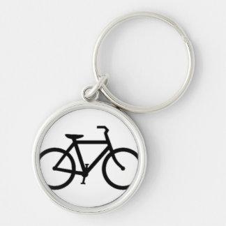 Bicicleta: Negro en blanco Llavero Redondo Plateado