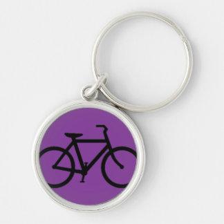 Bicicleta: Negro en púrpura Llavero Redondo Plateado