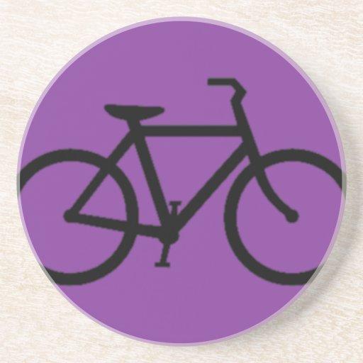 Bicicleta: Negro en púrpura Posavasos Cerveza