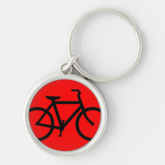 Bicicleta: Negro en rojo Llavero Redondo Plateado
