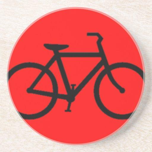 Bicicleta: Negro en rojo Posavaso Para Bebida