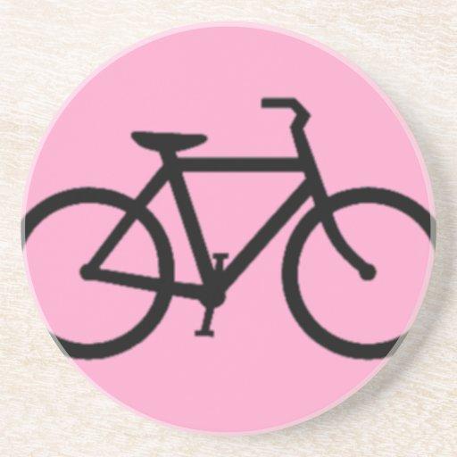 Bicicleta: Negro en rosa Posavasos Manualidades