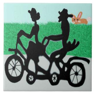 Bicicleta para dos azulejo cuadrado grande