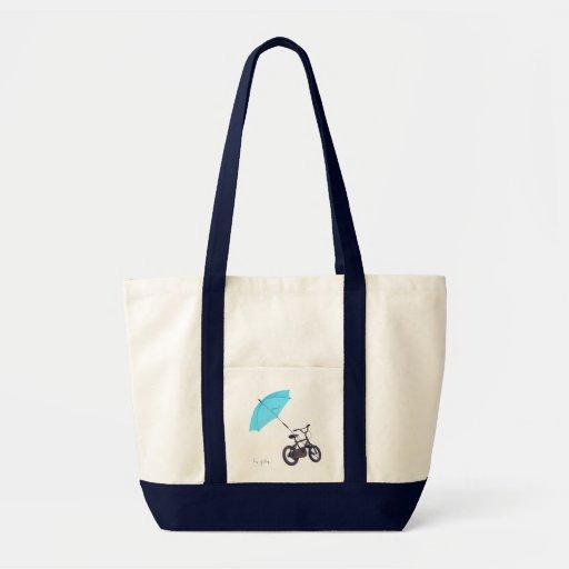 bicicleta + paraguas bolsas de mano