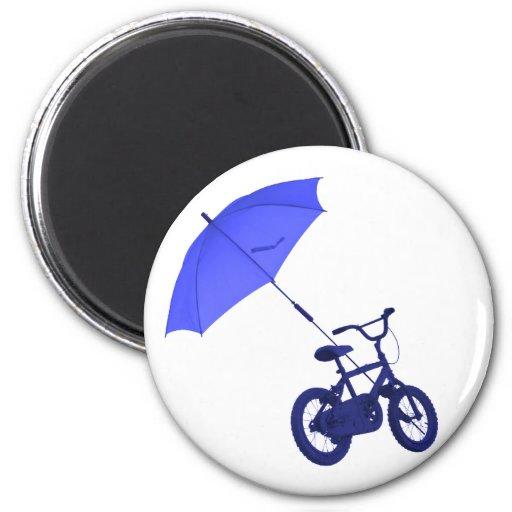 bicicleta + paraguas imán para frigorífico
