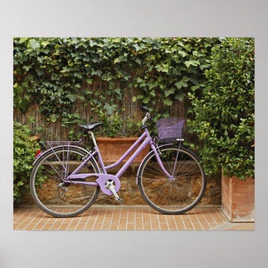 Bicicleta parqueada, Pienza, Italia, Toscana Póster