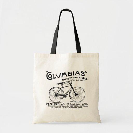 Bicicleta pasada de moda antigua bolsa tela barata