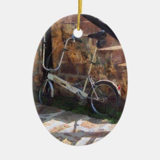 Bicicleta plegable Antigua Adorno Navideño Ovalado De Cerámica