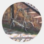 Bicicleta plegable Antigua Pegatina Redonda