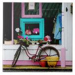 Bicicleta por el anticuario azulejo cerámica