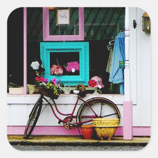 Bicicleta por el anticuario pegatina cuadrada