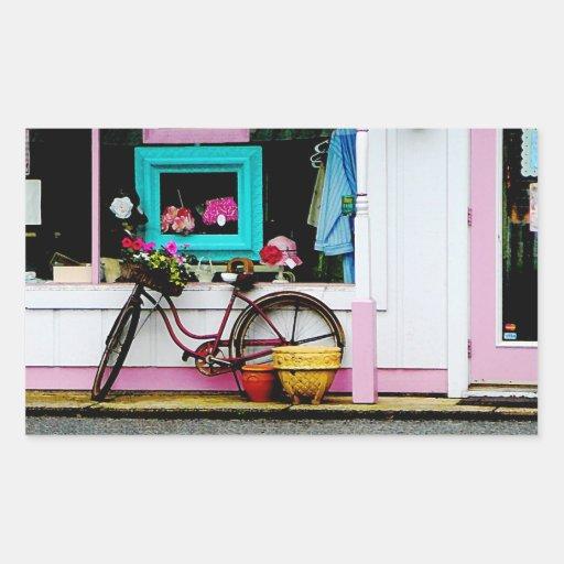 Bicicleta por el anticuario pegatina rectangular